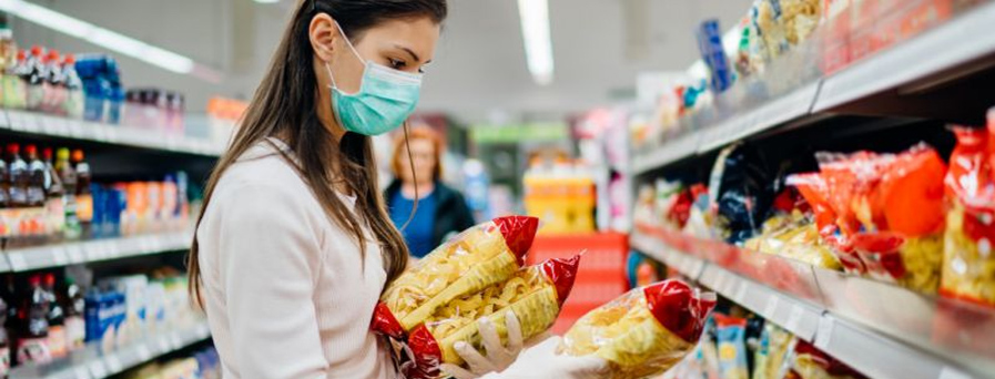 woman with mask at grocery store